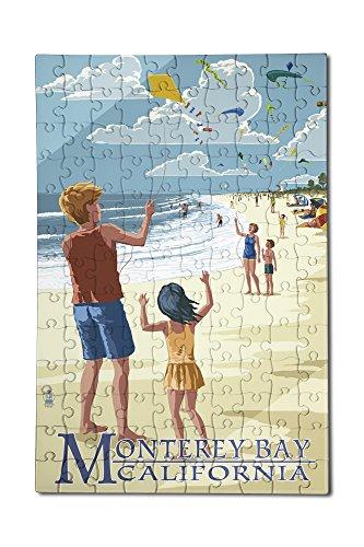 Monterey Bay California - Kite Flyers 12x18 Premium Acrylic Puzzle 130 Pieces