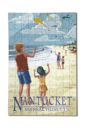 Nantucket Massachusetts - Kite Flyers 12x18 Premium Acrylic Puzzle 130 Pieces
