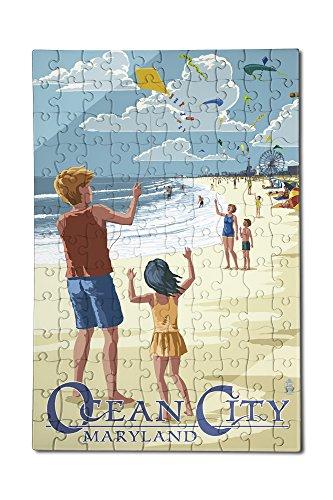Ocean City Maryland - Kite Flyers 12x18 Premium Acrylic Puzzle 130 Pieces