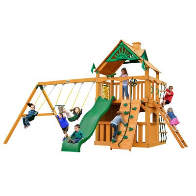 Chateau Clubhouse with Amber Posts Cedar Swing Set
