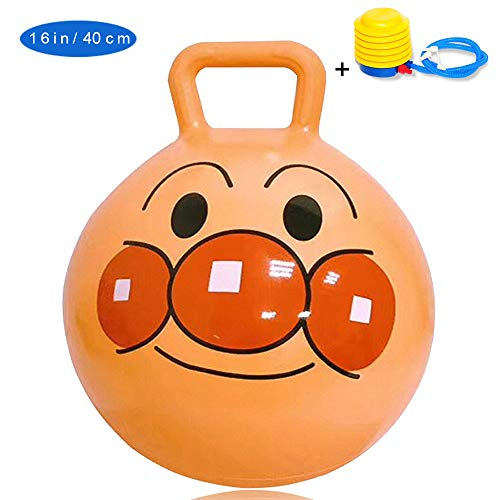 Ussasa Anpanman Bread Superman Toys Hopper Ball for Kids Ages 3-6 Hippity Hop Ball Hopping Ball Bouncy Ball with Handles Kangaroo Bouncer Jumping Ball 16 InchesOrange,ThickeningAnti-sk