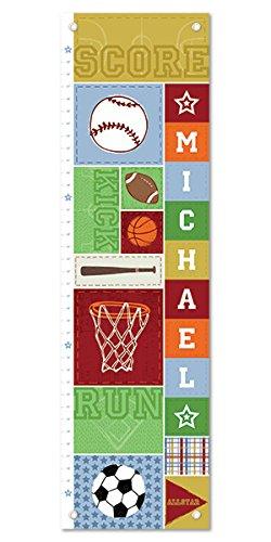 Growth Chart for Kids Boy or Girl Height Ruler Personalized Nursery Toddler Bedroom Playroom Decor Sports Basketball Football Baseball Socccer