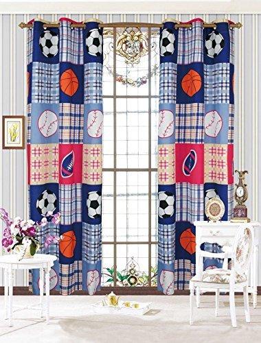 Linen Plus 2 Panel Curtain Set Plaid Sports Basketball Football Soccer Baseball Navy Blue Red Orange New