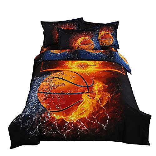 ZHH 3D Duvet Cover Sets Twin Size Sports Basketball Fire Pattern Kids Bedding Set Ultra Soft Quilt Cover for Boys Kids and Teens 1 Duvet Cover Set  2 Pillowcases Twin Basketball Fire