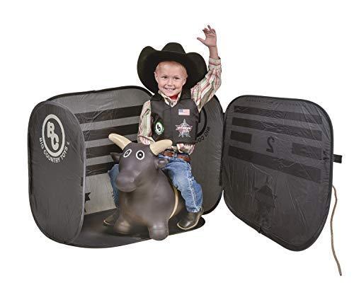 Big Country Toys Lil Bucker PBR Chute Combo - Kids Hopper Toy - Bull Riding Toy - Rodeo Toys - PBR Bouncy Bull - PBR Bucking Chute