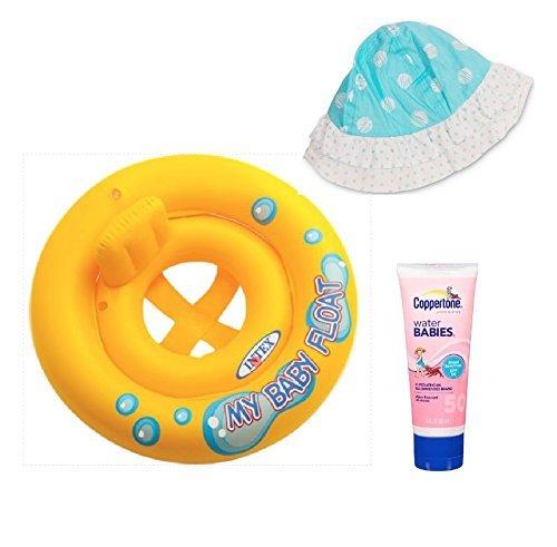 Intex My Baby Float Ring Coppertone Water Babies Circo Baby Hat Aqua Blue Bundle Set of 3 Su-46