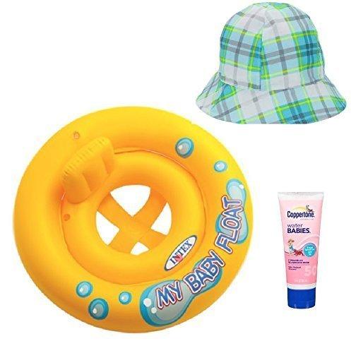 Intex My Baby Float Ring Coppertone Water Babies OP Baby Hat Plaid Bundle Set of 3 Su-48