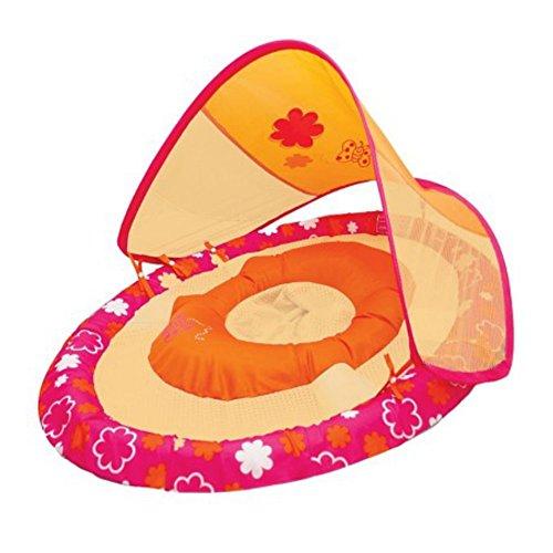Swim Ways Baby Spring Float with Sun Canopy Orange Flowers Butterflies Design