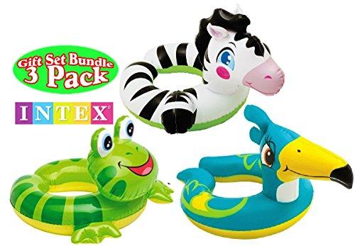 Intex Animal Split Ring Pool Floats Gift Set Bundle Includes Zebra Frog Pelican - 3 Pack