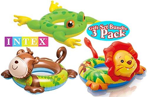 Intex Big Animal Ring Pool Floats Monkey Lion Frog Gift Set Bundle - 3 Pack