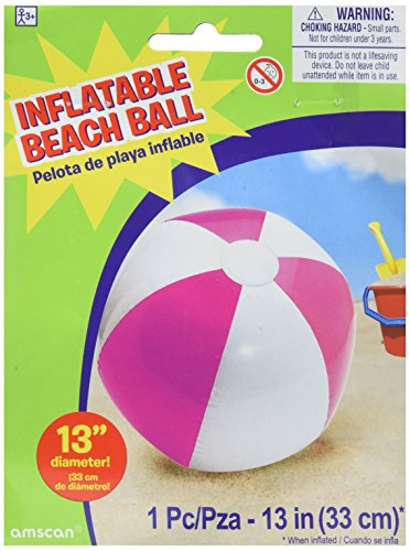 Amscan Inflatable Beach Ball in Pink Swimming Party Water Activity Toy Pool Decoration Pink 13