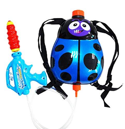 Jutao Childrens Super Soaking Backpack Water Gun Pistol Squirt Gun Toy for Children Blue Beetle