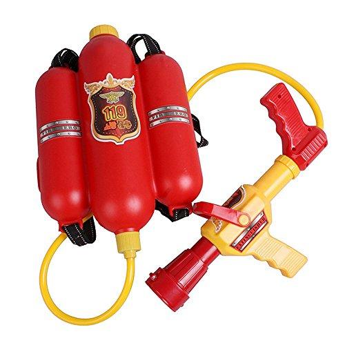 WloloSummer Beach Game Toys Firefighter Backpack Water Gun Red
