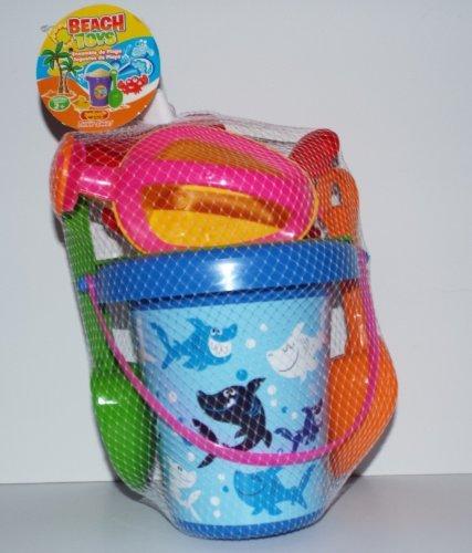 Sun Sky Child 6 Piece Plastic beach Bucket Set  Sand Summer Beach Toys