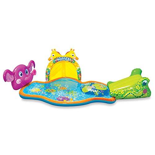 Banzai Splish Splash Durable Fun Colorful Safe Animal Themed Inflatable Kiddie Pool Safari Park Pool with Canopy by Banzai