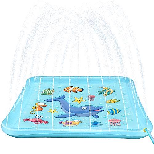 Growsland Splash Pad Sprinkler Toys for Kids - 67 Splash Play Mat Wading Pool Water Toys Summer Fun Outdoor Toys Gifts for Boys Girls