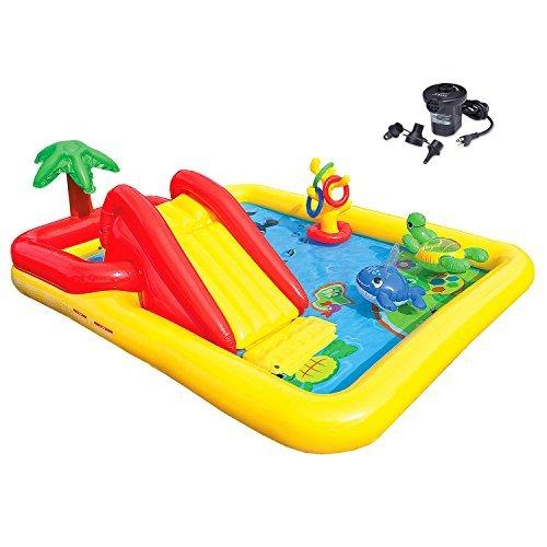 Intex Ocean Play Center Kids Inflatable Wading Pool  Quick Fill Air Pump