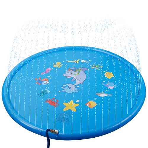 Skoloo Sprinkle Splash Play Mat68 Sprinkler Pad Outdoor Water Toy for Toddlers Boys Girls Children Party Sprinkler Wading Pool Fun Gift for Kids 1 - 13 Years OldBlue