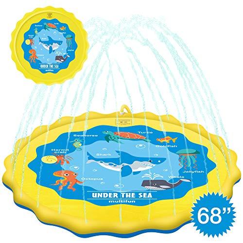 multifun Upgraded 68 Splash Pad Sprinkle Splash Play Mat Safe Sprinkler for Kids Large Sprinkler Pad with Storage Bag Children Sprinkler Pool Wading Pool for Toddler Outdoor Party Water Toys