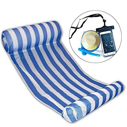 Premium Swimming Pool Float Hammock Inflatable Swimming Pools Lounger Water Hammock Lounge Luxury Swimming Pool and Ocean Lilo Blue