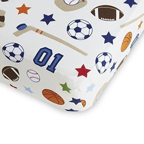 NoJo Fitted Crib Sheet - Sports - Hockey Football Soccer Basketball Baseball by NoJo