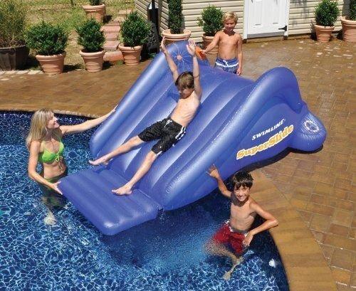New Shop Swimline Super Water slide Kids Inflatable Swimming Pool Game 99-inchx68-inchx4 Model