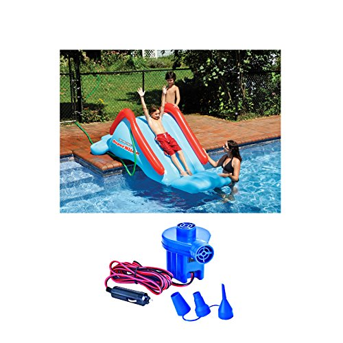 Swimline 90809 Super Water Slide Swimming Pool Inflatable Kids w 12V Air Pump