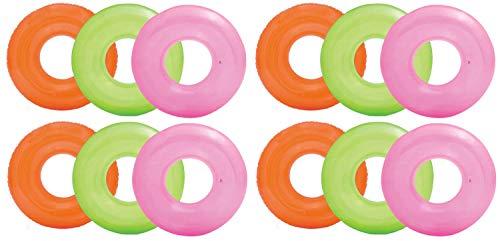 Intex Colorful Transparent Inflatable Swimming Pool Tube Raft 12-Pack 59260EP