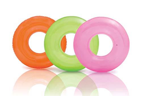 Intex Colorful Transparent Inflatable Swimming Pool Tube Raft 3-Pack 59260EP