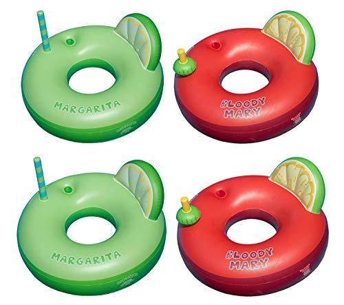Swimline Inflatable Margarita Bloody Mary Swimming Pool Tube Floats 4 Pack