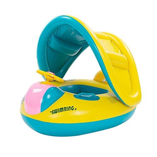Lkous Babies Kids Sunshade Swimming Inflatable Boat Swimming Pool Fish Float Yellow