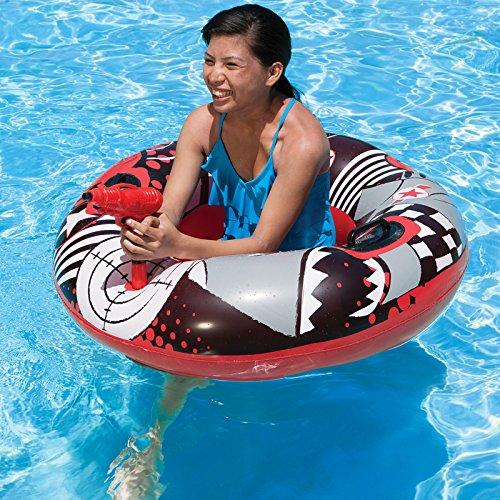 42 Red Gray and White Inflatable Aqua Fun Splashback Bump N Squirt Swimming Pool Inner Tube