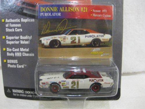 Donnie Allison 21 Purolator 1971 Mercury Cyclone In White Diecast 164 Scale Stock Car Legends By Johnny Lightning