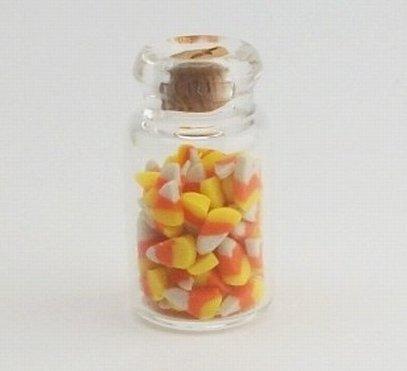 112 Jar of Candy Corn Halloween - Dollhouse Miniature Scale Food