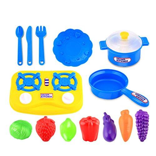 Dreaman 15pcs Plastic Kids Children Kitchen Utensils Food Cooking Pretend Play Set Toy