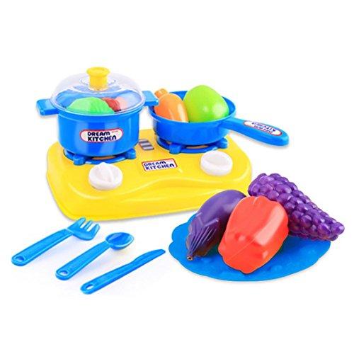 Lisingtool 15pcs Plastic Kids Children Kitchen Utensils Food Cooking Pretend Play Set Toy