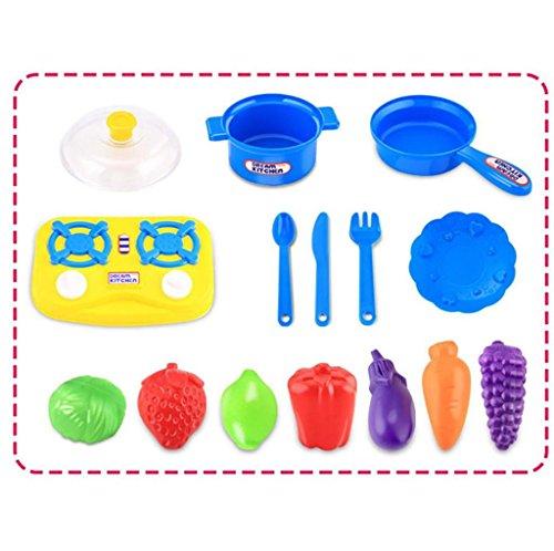 Mokao 15pcs Plastic Children Kitchen Utensils Food Cooking Pretend Play Set Toy