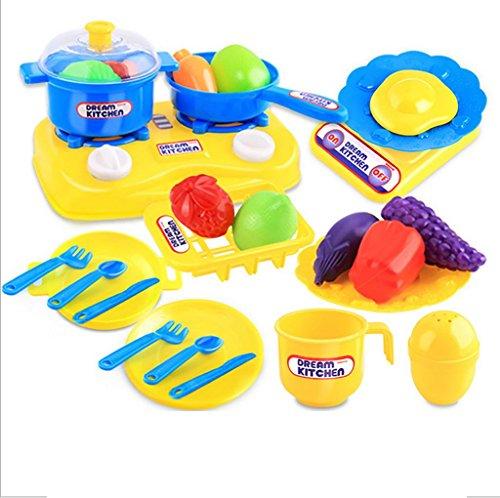 Mokao 26pcs Plastic Kids Children Kitchen Utensils Food Cooking Pretend Play Set Toy