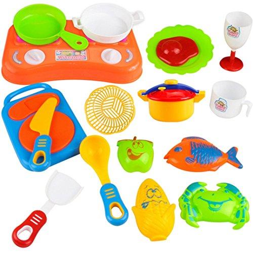 OVERMAL 17pcs Plastic Kids Children Kitchen Utensils Food Cooking Pretend Play Set Toy