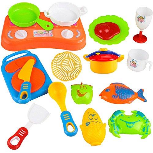 Singleluci 17pcs Plastic Children Kitchen Utensils Tableware Food Cooking Pretend Play Set Toy