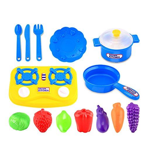 Susenstone 15pcs Plastic Kids Children Kitchen Utensils Food Cooking Pretend Play Set Toy