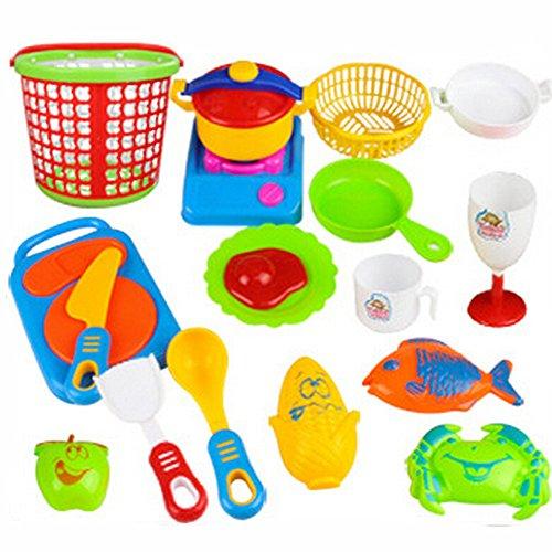 Susenstone 18pcs Plastic Kids Children Kitchen Utensils Food Cooking Pretend Play Set Toy