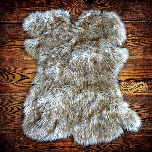 Gray Wolf Faux Fur Pelt Rug - Sheepskin Shag - Shaggy Throw - Accent Carpet -Kids Bedroom - Play Rug - Nursery - Crib Mat - Design By Fur Accents 24x36