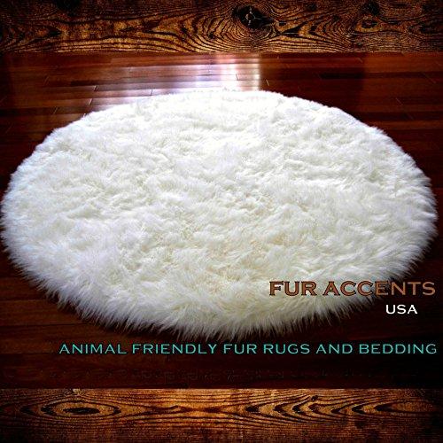 Round Shag Rug Kids Play Rug Nursery Crib Carpet Faux Fur Shaggy Sheepskin 5 Diameter Polar Bear Off White