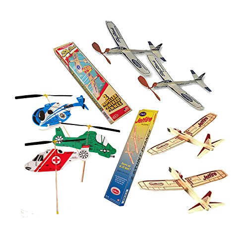 Jetfire Balsa Wood Airplanes and Sky Streak Rubber Band Powered Airplanes with Kids Windup Flying Copter Toys Bundle