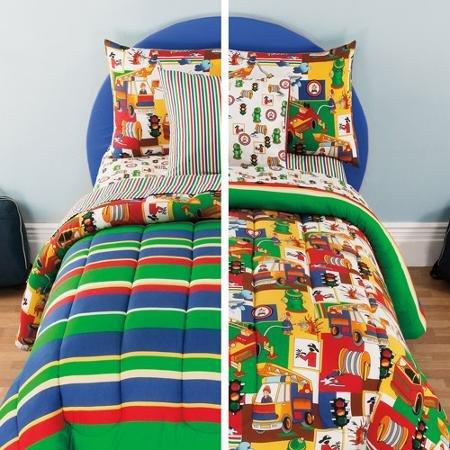 Kidz Mix Kids 3-Alarm Reversible Bed in a Bag FULL Set Red Blue Yellow Green Stripes Toddler Boys Comforter Set