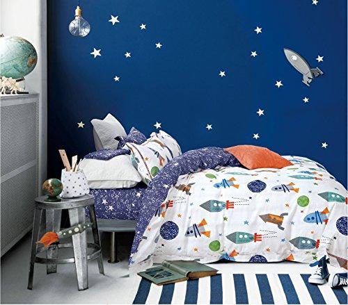 Cliab Space Bedding For Girls Queen Size Kids Duvet Cover Set 100 Cotton 5 Pieces