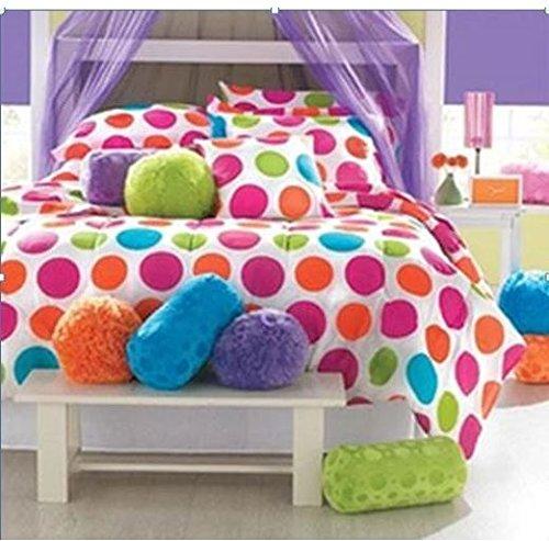 1 Piece Kids Polka Dot Comforter Full Vibrant Rainbow Multi Colors Bright Beautiful Girls Bedding Purple Orange Blue Green Pink Polyester Pretty Adorable