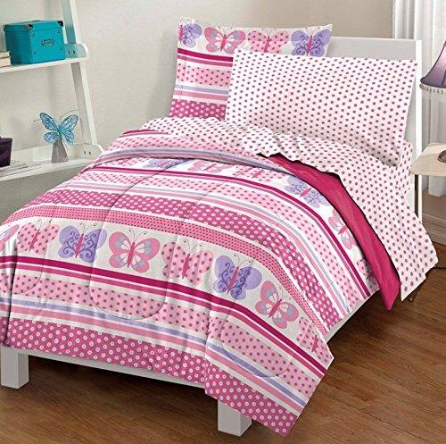 7 Piece Girls Pink Butterfly Themed Comforter Full Set Pretty All Over Butterflies Polka Dot Striped Bedding Horizontal Polkadot Stripes Girly Cheerful Fun Soft Light Purple Rose Hot Pink