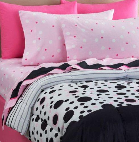 Black White Pink Polka Dots Girls Full Comforter Set 8 Piece Bed In A Bag